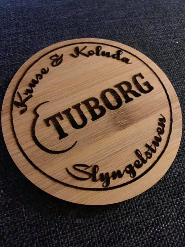 Ølbrik i bambus Ø10 cm - med eget design