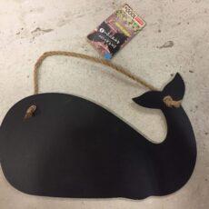 Lille hvalformet kridttavle med snor til ophæng