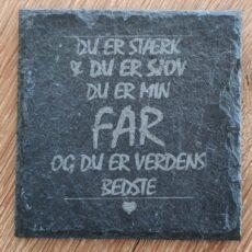 """Ølbrik i naturskifer til """"Verdens bedste far"""" - perfekt til gave!"""