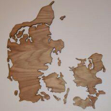 Danmarkskort i egetræsfiner